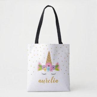 Cute Unicorn Personalized Tote Bag | Custom Color