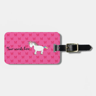 Cute unicorn pink butterflies luggage tags