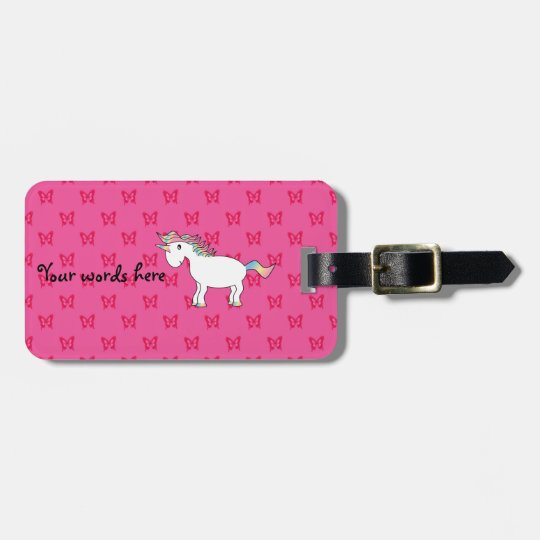 Cute unicorn pink butterflies luggage tag