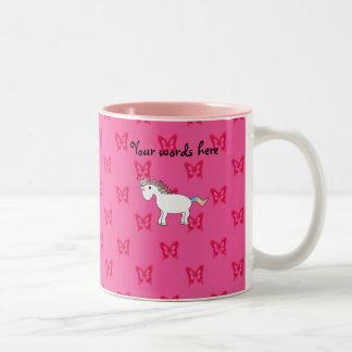 Cute unicorn pink butterflies Two-Tone coffee mug