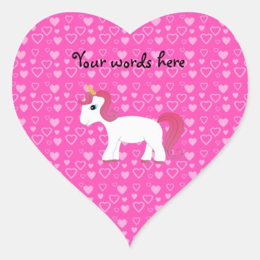 Cute unicorn pink hearts stickers