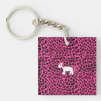 Cute unicorn pink leopard print Double-Sided square acrylic keychain