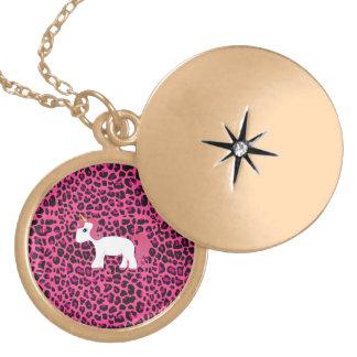 Cute unicorn pink leopard print necklace
