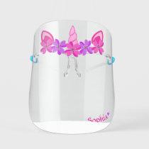 Cute Unicorn Pink & Purple Flowers, Heart, & Name Kids' Face Shield