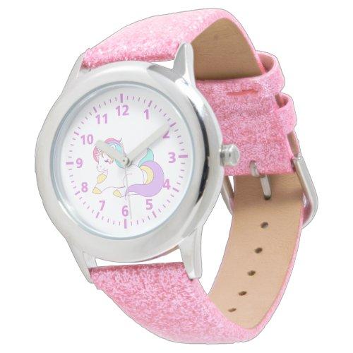 Cute unicorn pink purple white girly pastels watch