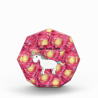 Cute unicorn pink roses acrylic award