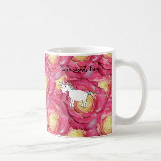 Cute unicorn pink roses classic white coffee mug
