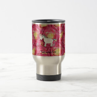 Cute unicorn pink roses 15 oz stainless steel travel mug