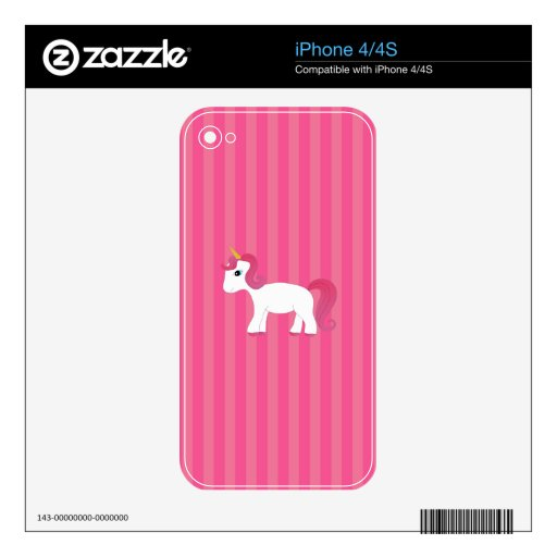 Cute unicorn pink stripes iPhone 4S decal