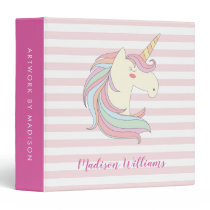 Cute Unicorn Pink Stripes Magical Pony Horse Girly 3 Ring Binder