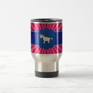 Cute unicorn pink sunburst 15 oz stainless steel travel mug