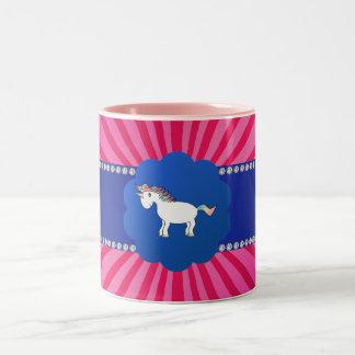 Cute unicorn pink sunburst Two-Tone coffee mug