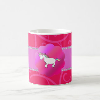 Cute unicorn pink swirls classic white coffee mug