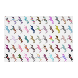 Cute Unicorn Pink Teal Astec Floral Cool Patterns Placemat at Zazzle
