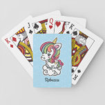 "Cute Unicorn playing cards<br><div class=""desc"">Playing cards with a cute unicorn design.</div>"