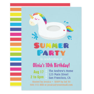 Cute Unicorn Pool Float Kids Summer Birthday Party Card