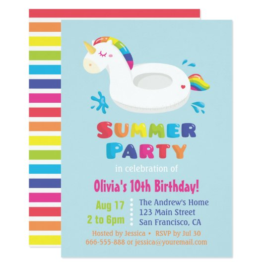 Cute Unicorn Pool Float Kids Summer Birthday Party Card With Indoor Invitations