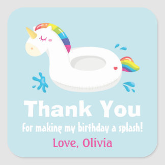 Cute Unicorn Pool Float Thank You Stickers