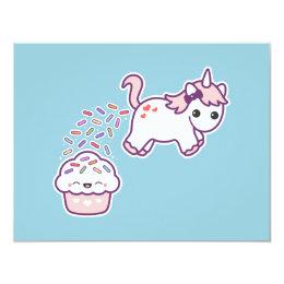 Cute Unicorn Poop Birthday Party Invitations