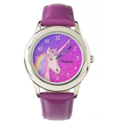 Cute Unicorn Purple Pink Glitter Ombre Custom Name Watch