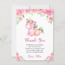 Cute Unicorn Rainbow Floral Girl Birthday Party Thank You Card