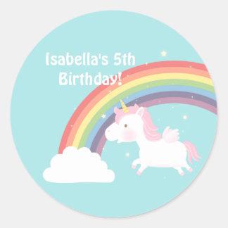Cute Unicorn Rainbow Girls Birthday Party Classic Round Sticker