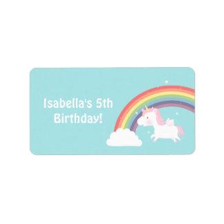 Cute Unicorn Rainbow Girls Birthday Party Label