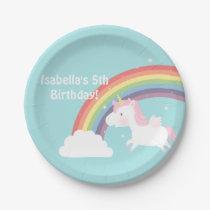Cute Unicorn Rainbow Girls Birthday Party Supplies Paper Plate