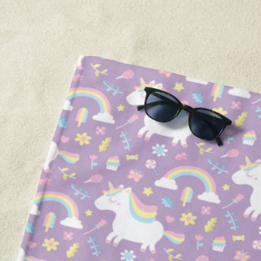 Cute Unicorn Rainbow Girls Purple Beach Towel