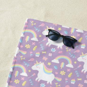 Cute Unicorn Rainbow Girls Purple Beach Towel