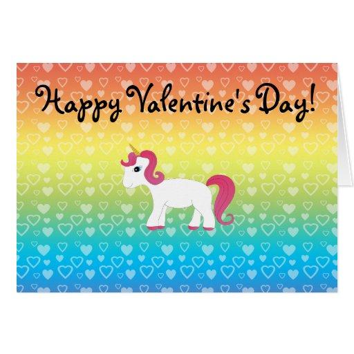 Cute unicorn rainbow hearts card