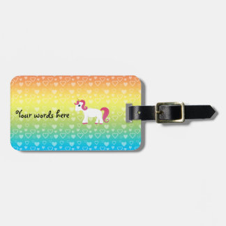 Cute unicorn rainbow hearts bag tag