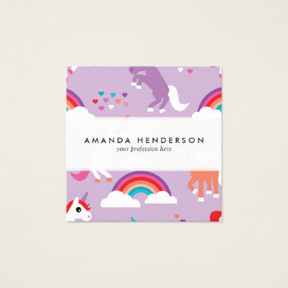 Cute Unicorn Rainbow Purple Square Business Card