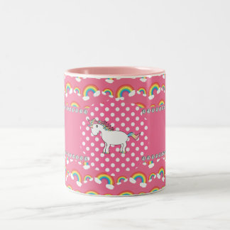 Cute unicorn rainbows Two-Tone coffee mug