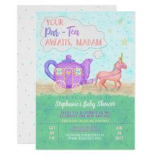 Cute Unicorn Tea Party Baby Shower Invitation