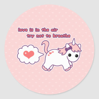 Cute Unicorn Valentine Classic Round Sticker