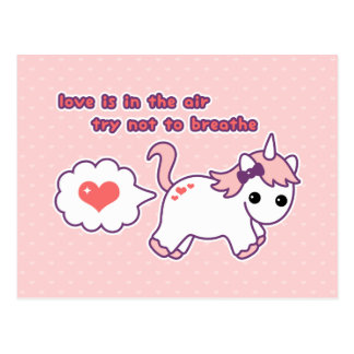 Cute Unicorn Valentine Postcard