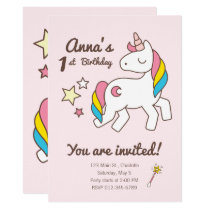 Cute Unicorn  Wand & Stars Birthday Invitation