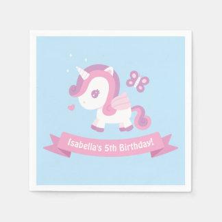 Cute Unicorn Wings Girls Birthday Party Napkins