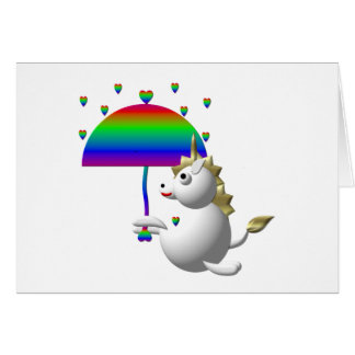 Cute unicorn with an umbrella card