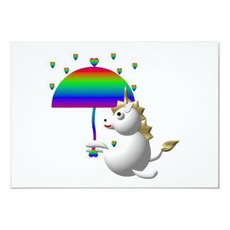 Cute unicorn with an umbrella custom invite