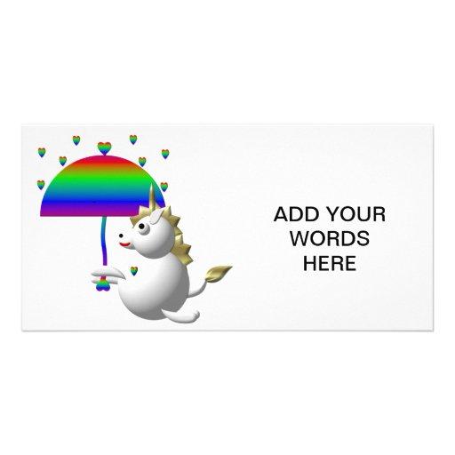Cute unicorn with an umbrella custom photo card