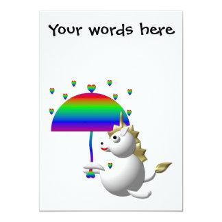 Cute unicorn with an umbrella personalized invitations