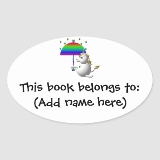 Cute unicorn with an umbrella oval sticker
