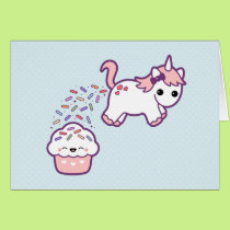 Cute Unicorn with Cupcake Card