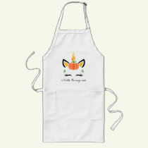 Cute Unicorn with Pumpkin Cook Long Apron