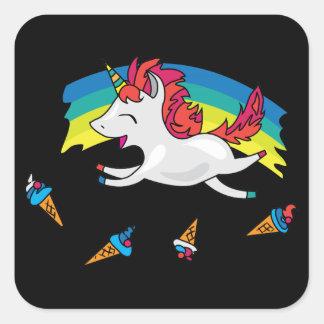 Cute Unicorn with rainbow cool illustration Square Sticker