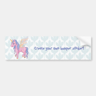 Cute Unicorn with rainbow wings illustration Bumper Sticker