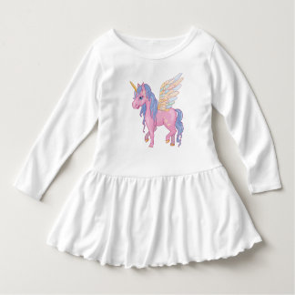 Cute Unicorn with rainbow wings illustration Dress