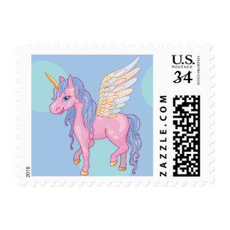 Cute Unicorn with rainbow wings illustration Postage